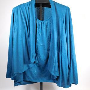 Croft & Barrow Teal Sweater Combo 2X CL2044 1019